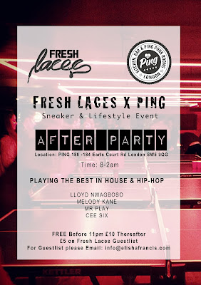 Fresh Laces, Ping, Elisha Francis, Earls Court, December events, Sneaker Event, after party