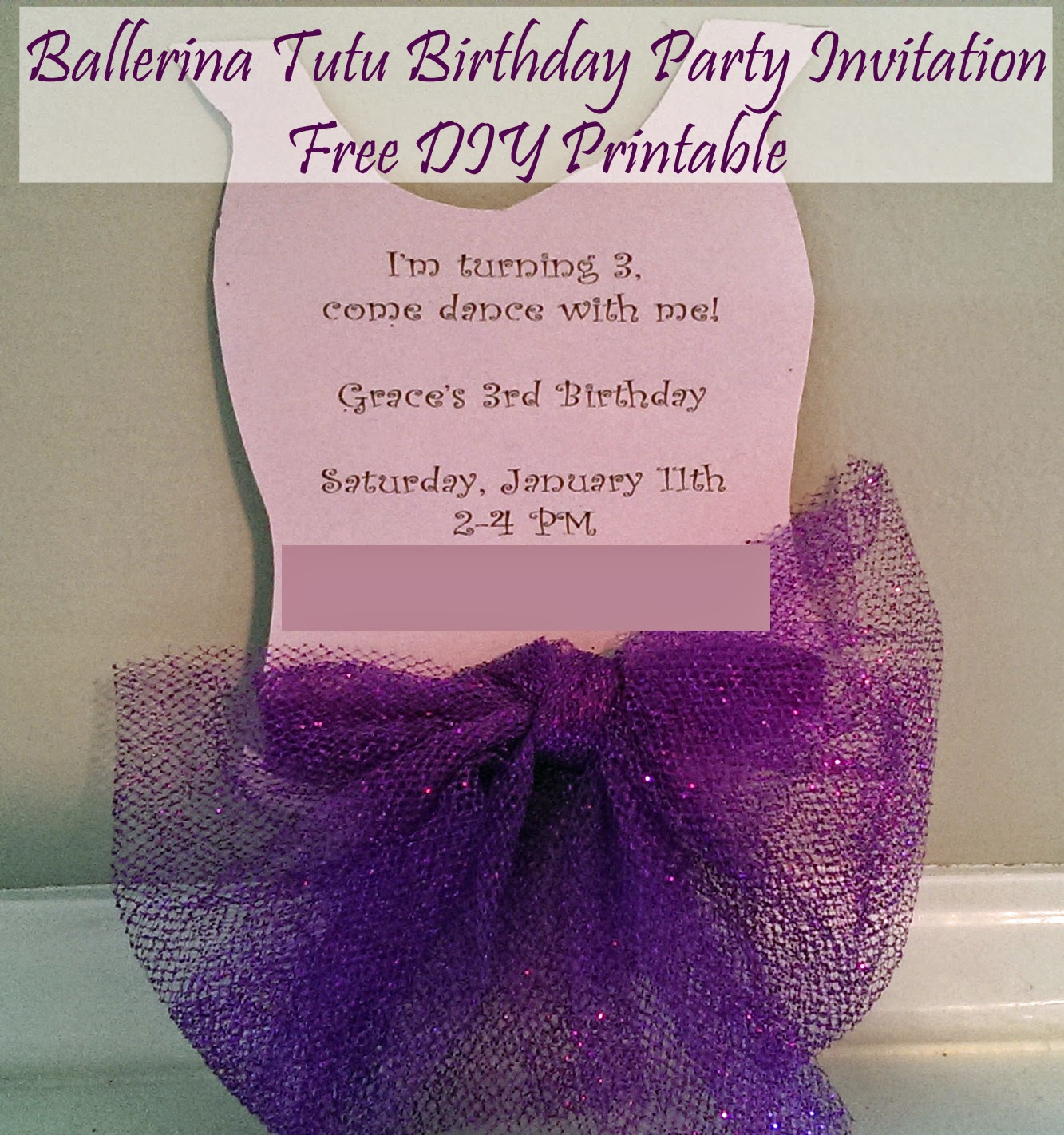Ballerina Tutu Ballet Birthday Party Invitation Free DIY Printable