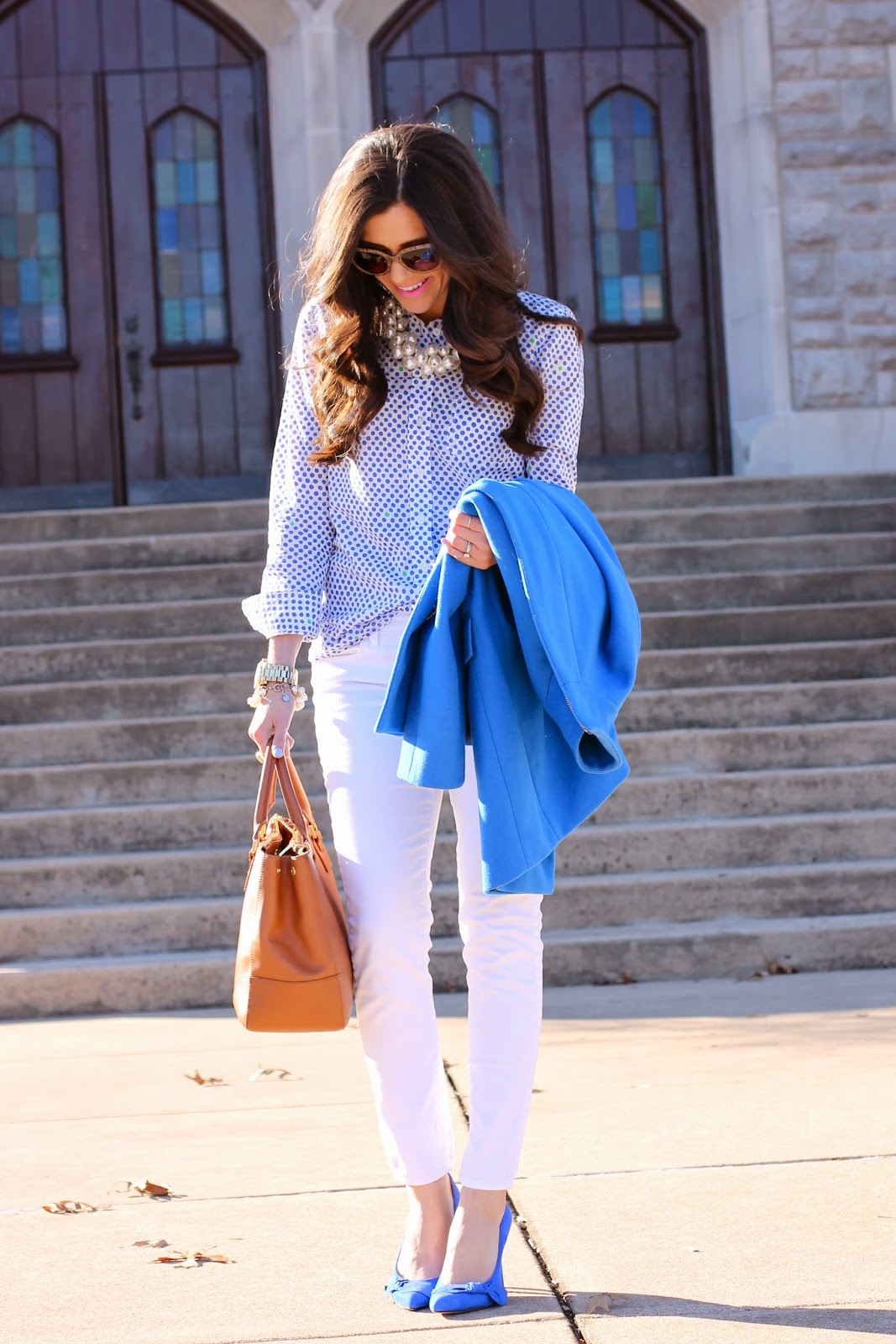 prada sunglasses, white pants in winter, blue pumps, royal blue pumps, pearl necklace, oversized pearl necklace, zara necklace, mac saint germaine lipstick, tory burch robinson tote, gold michael kors watch, jcrew cocoon coat, sole society pumps, tory burch purse, fashion blog, style blog, winter 2013 trends, pinterest fashion, winter pinterest fashion