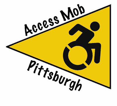 "Image: The handicap symbol in black inside a gold triangle, with ""Access Mob"" written on top and ""Pittsburgh"" underneath."