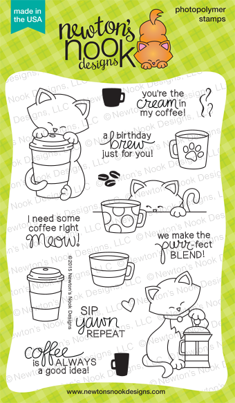 Newton Loves Coffee 4x6 photopolymer stamp set | Newton's Nook Designs #newtonsnook #coffee
