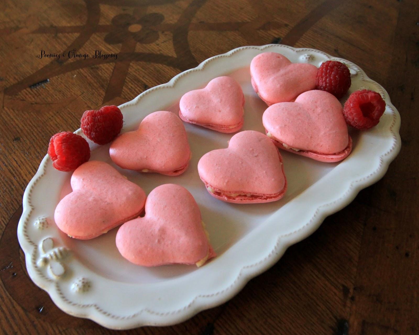 Rose Raspberry Heart Macarons