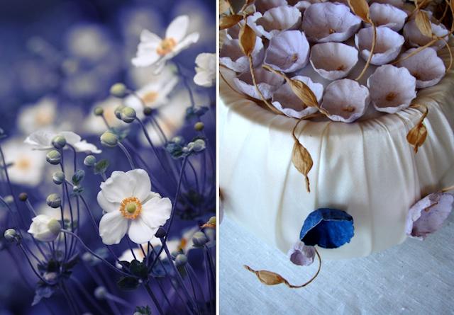 centrotavola blu lilla con fiori di carta