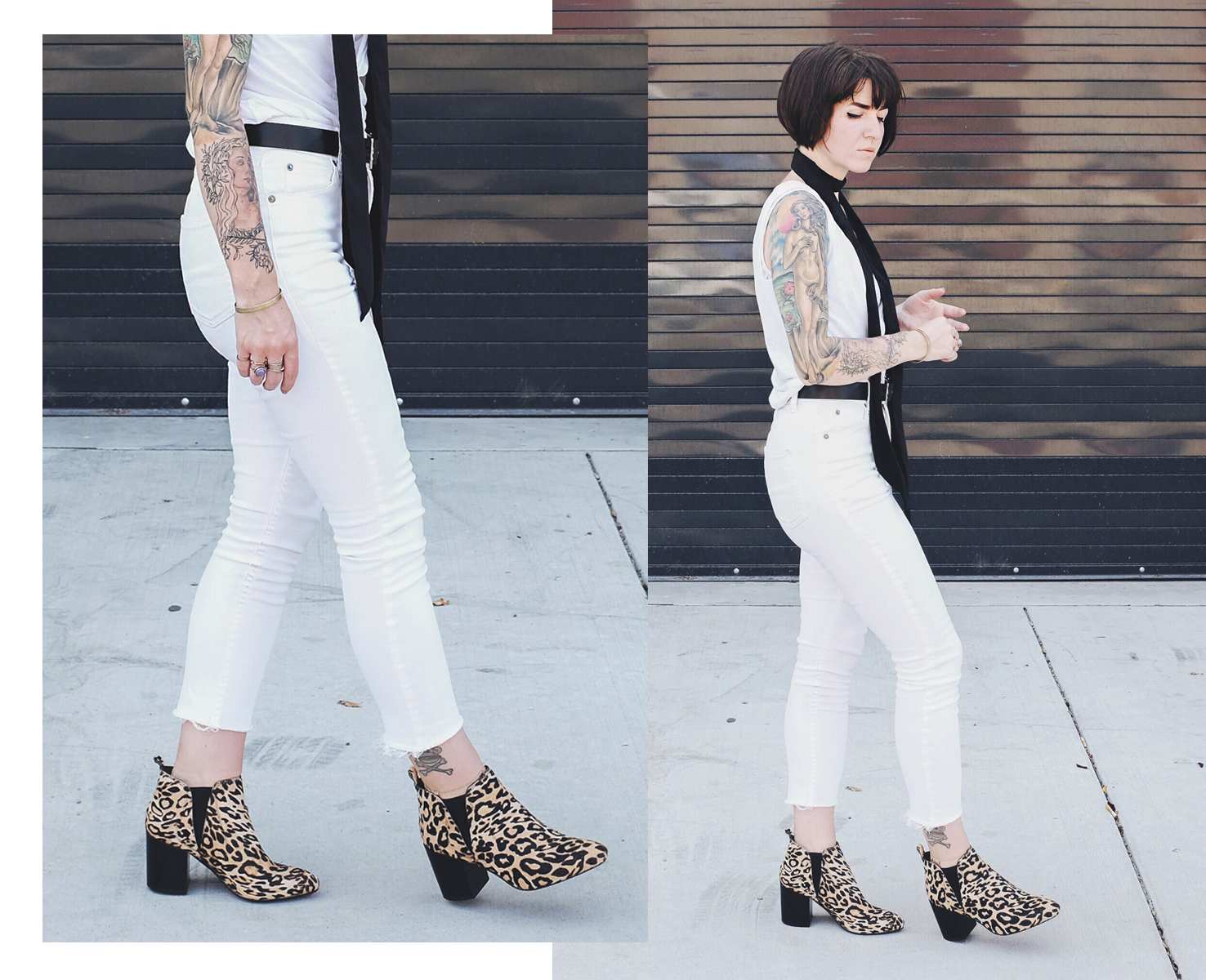 Leopard Print Booties with White Denim - Mini Penny Blog