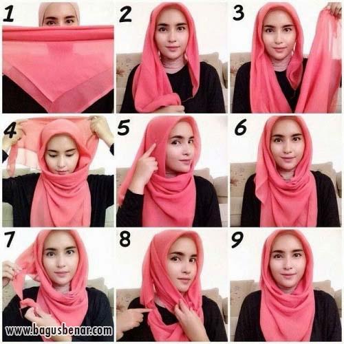 3 Cara Pakai Hijab Segi Empat