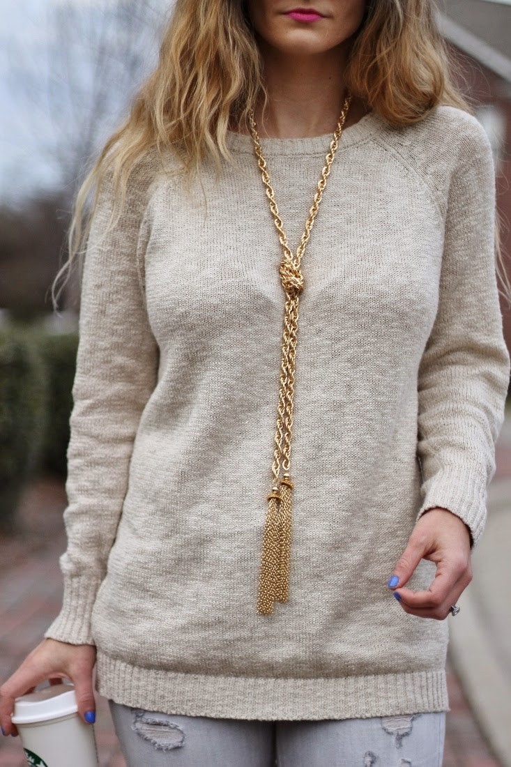 sole society gold lariat tassel necklace