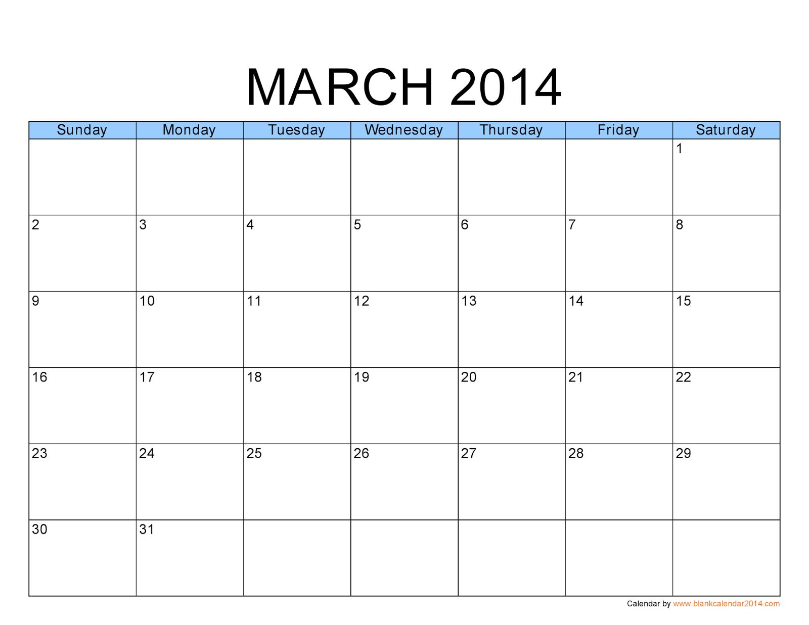 Calendar March 2014 : Free printable calendar march