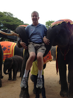 Elephant holding Mike in his trunk