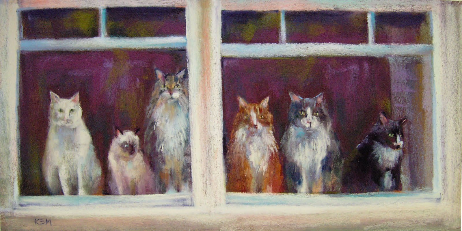 Painting my world cats in the window pastel 12x24 for 12x24 window