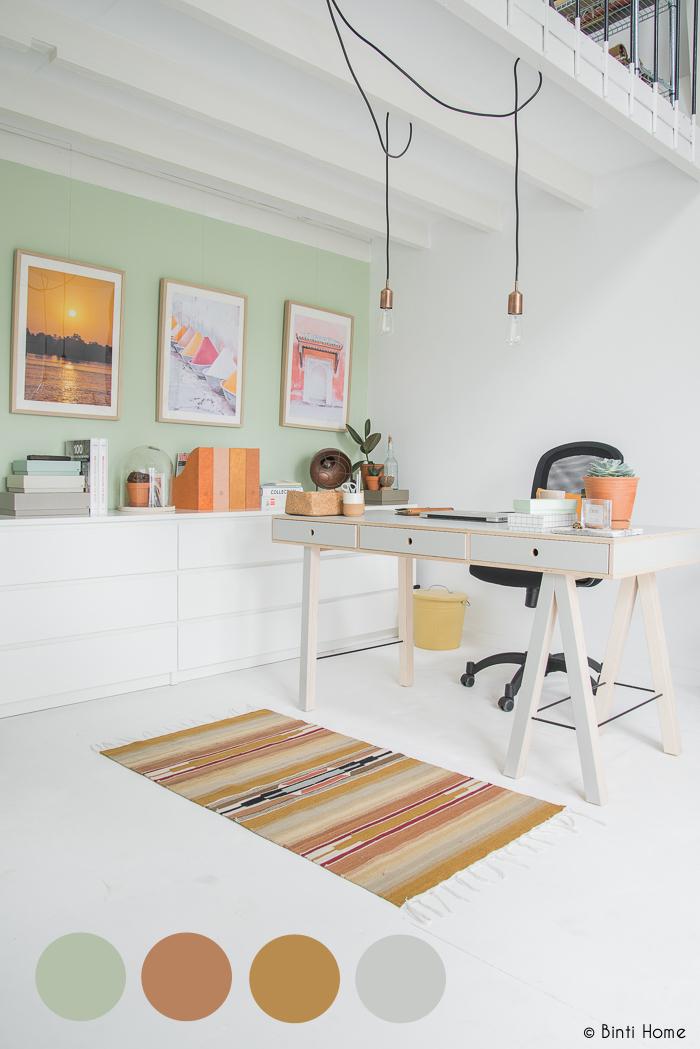 kleurenpalet inrichting kantoor aan huis