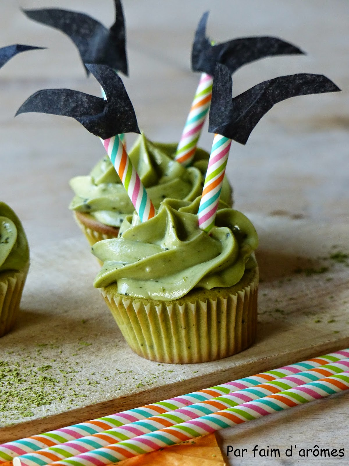 Cupcakes au thé matcha Halloween
