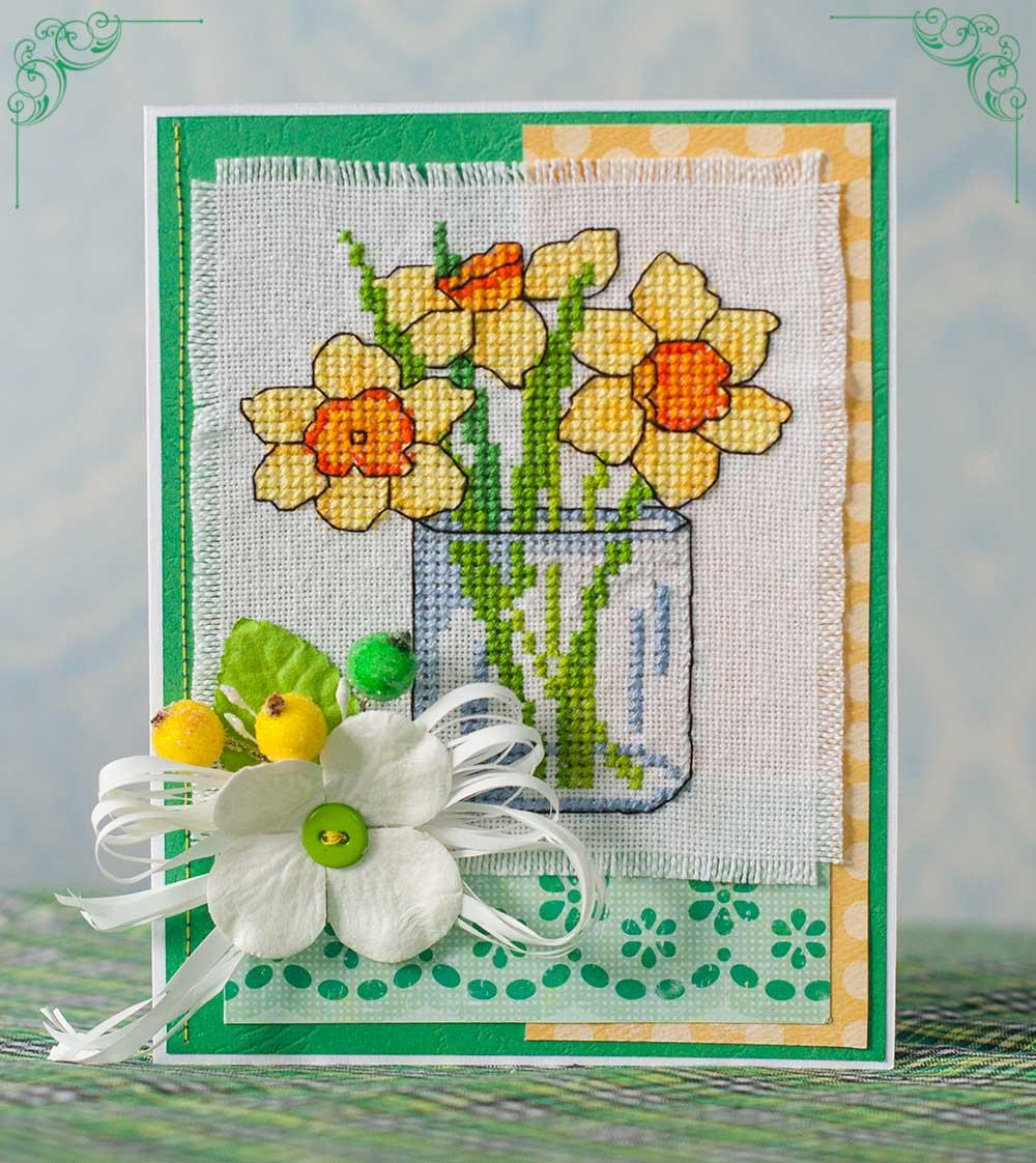 открытка весна, открытка с вышивкой