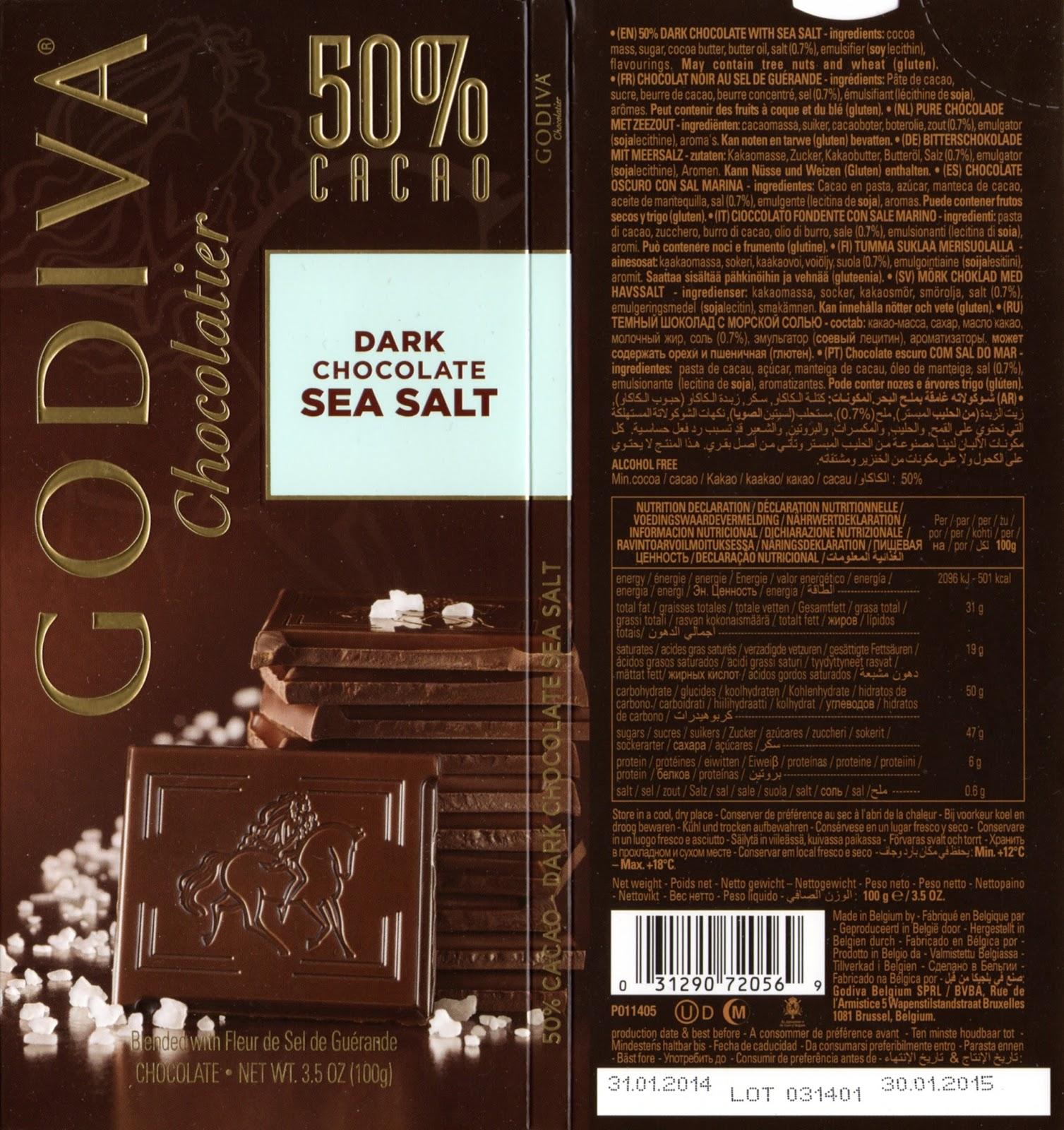 tablette de chocolat noir gourmand godiva noir au sel de guérande