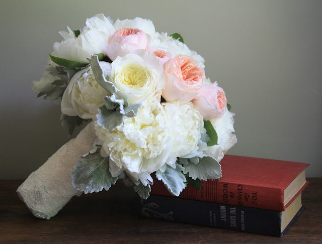 David Austin Rose & Peony Bouquet with lace - Highlands Country Club - Garrison