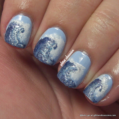 beach waves nail art