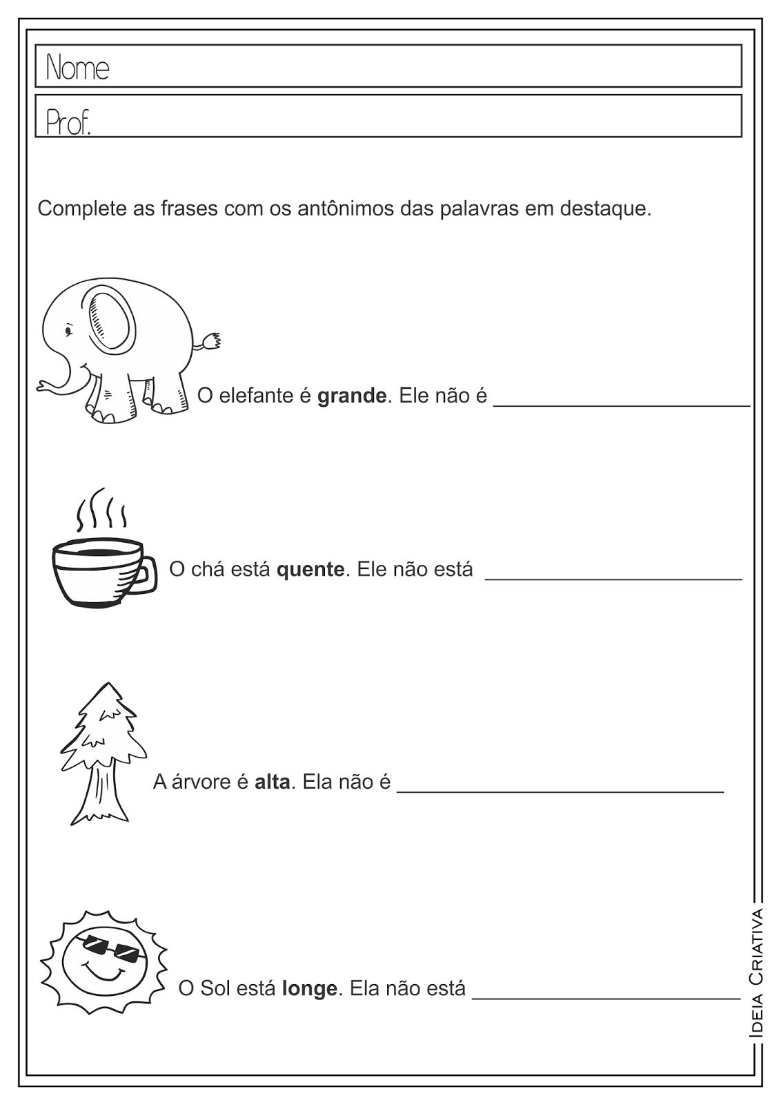 Atividades Educativas Antônimos Língua Portuguesa para Ensino Fundamental