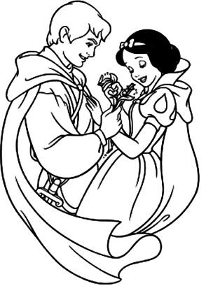 Dibujo de Blancanieves con su príncipe para colorear pintar