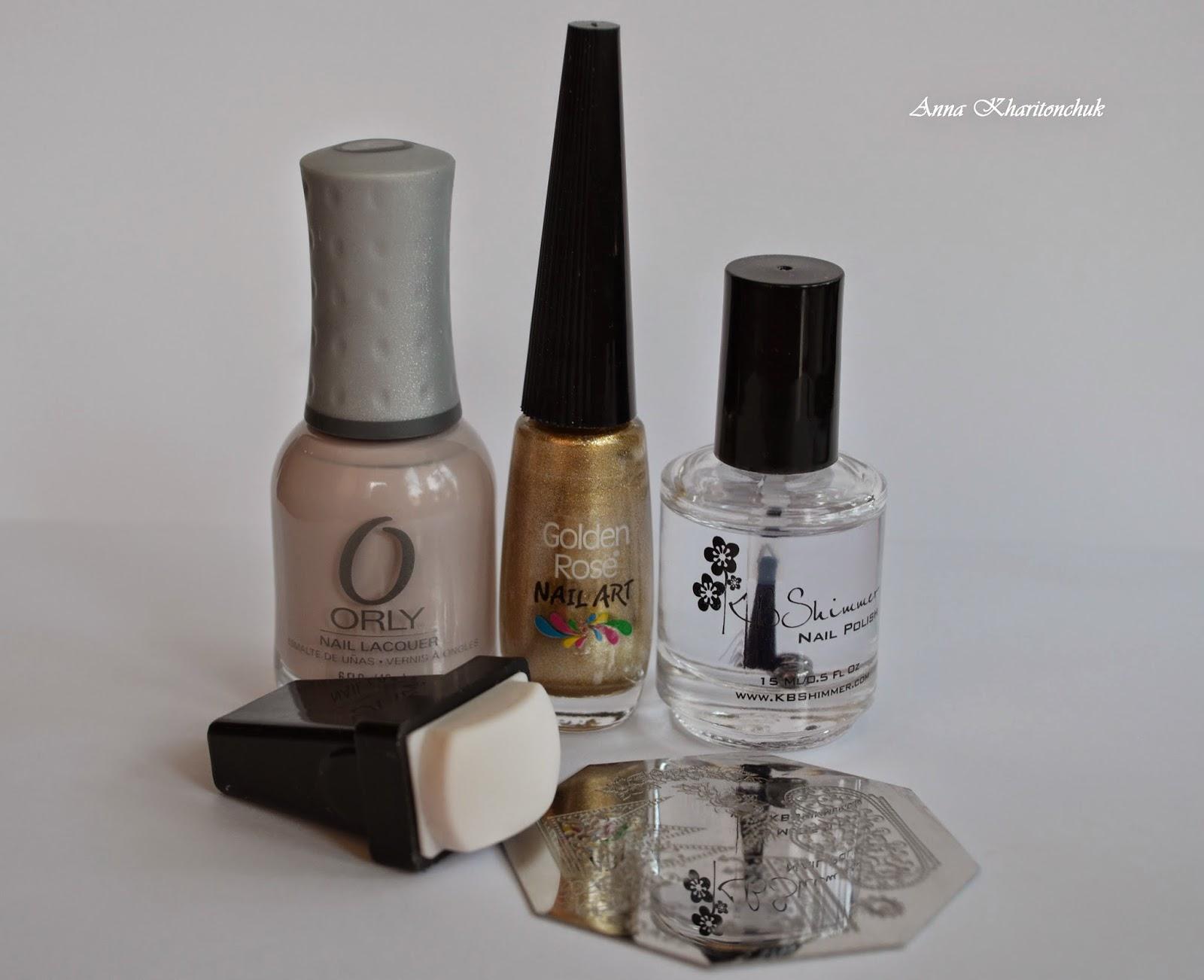 """Конкурсный маникюр """"Антиквариат"""", Kiko # 813 Pearly Brown, Orly Pure Porcelain, стемпинг"""