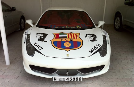 Barcelona-themed Ferrari in Dubai