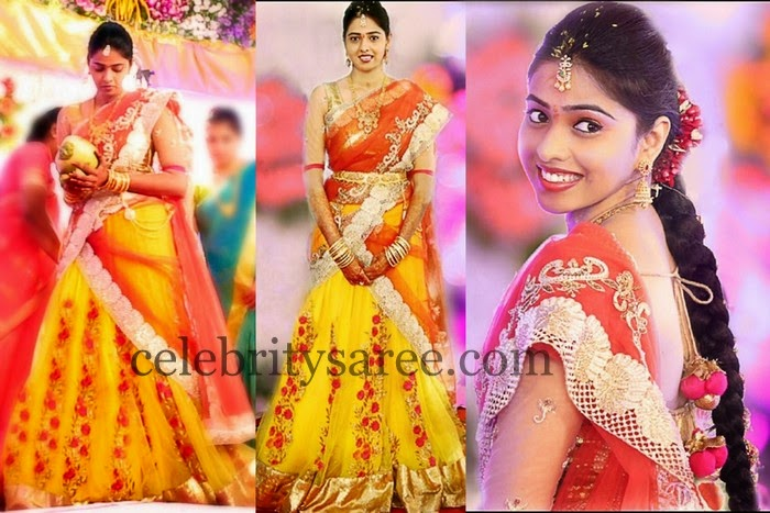 Bride in Anitha Reddy Half Saree