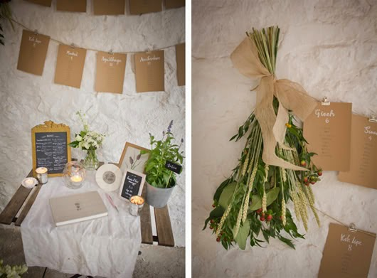 Vintage Decoracion Ideas ~ Combinan cuerdas, pinzas, pizarras, flores silvestres y marcos de