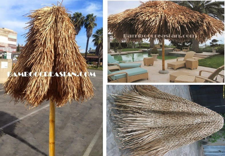 U003dReal Quality Asian Thatch And Frame Solid Bamboo Structure !!! Tropical  Assemble Palapa Umbrella :  Collapsible Tiki Palapa Umbrella Large Diameter  10u0027  ...