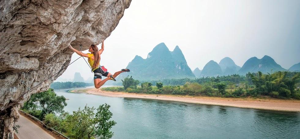 Anna Tsyganova. Climbing action.