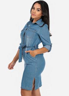 vestido comprido jeans