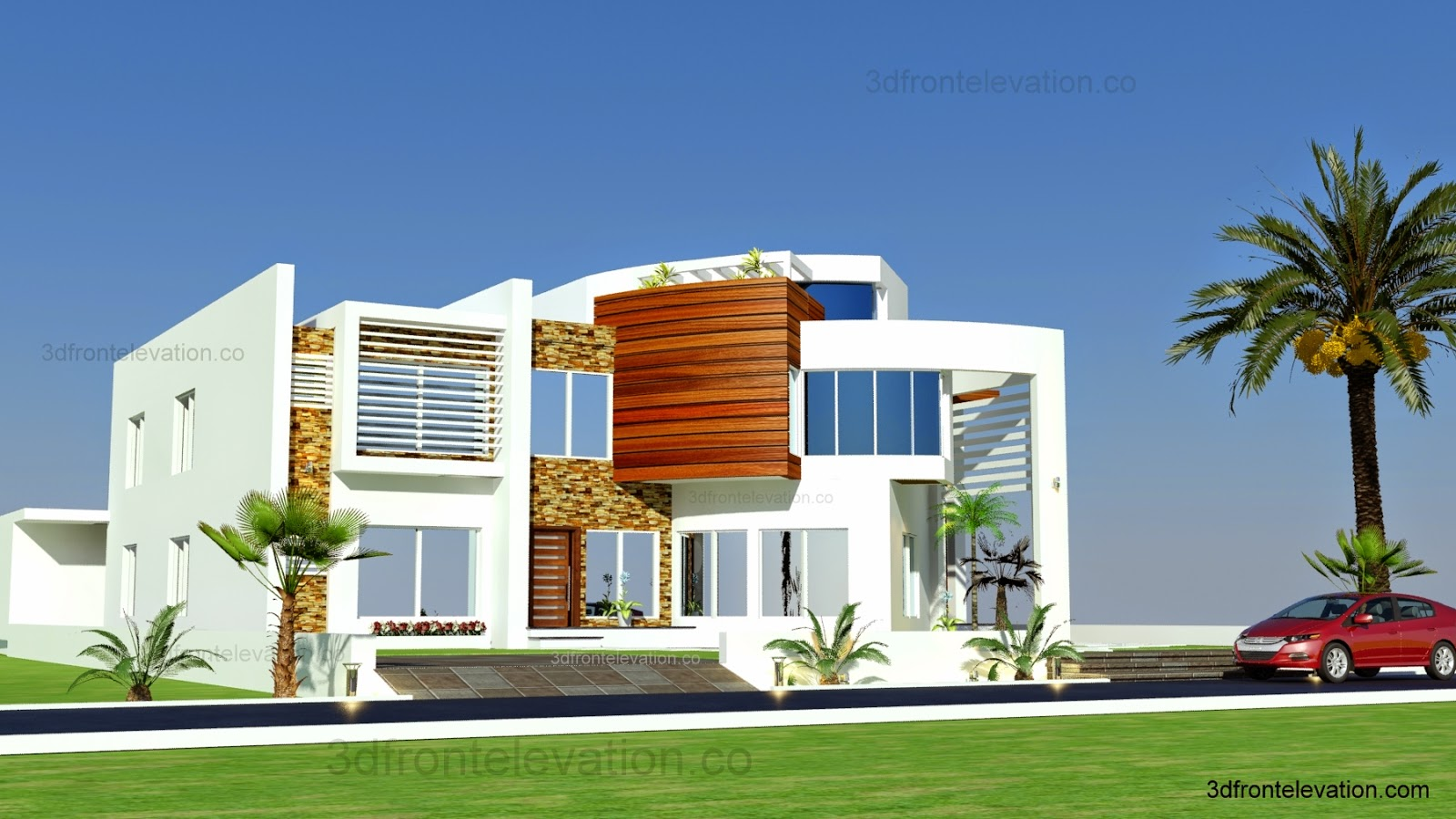 Front Elevation Villas : D front elevation oman modern contemporary villa