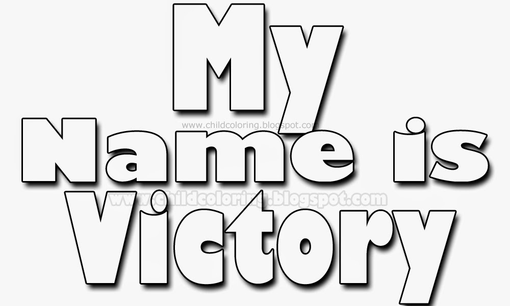 My name is Victory coloring - Names coloring page ~ Child Coloring