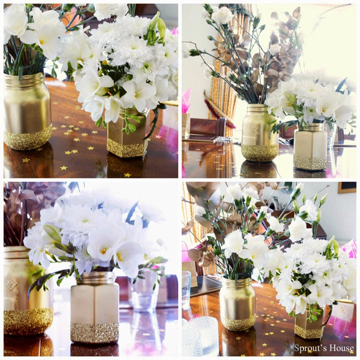 Gold Glitter Mason Jars by Sprout's House