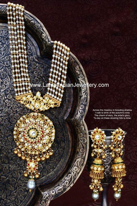 Pearls Rani Haram Gold Pendant Jhumkas
