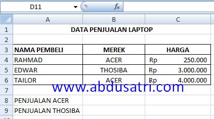 cara menggunakan fungsi SUMIF di Excel