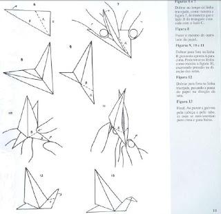 Origami - Dobraduras de papel machê. Gaivota que bate asas 2.
