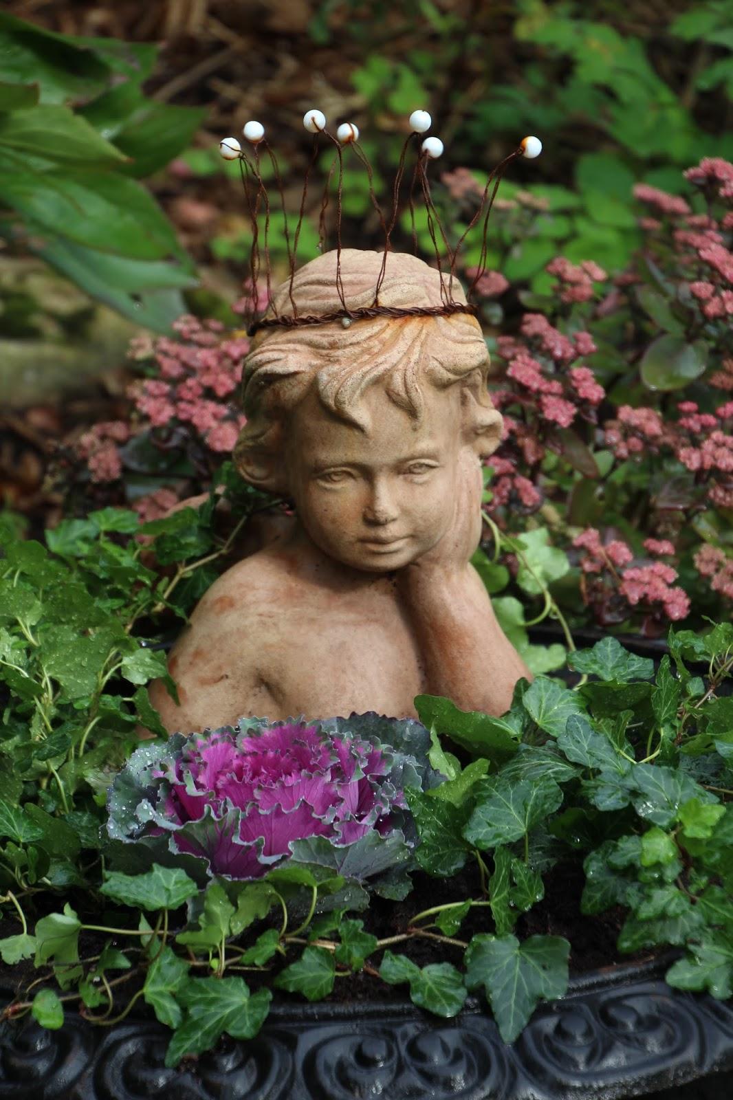 trädgårdsängel staty prydnadskål