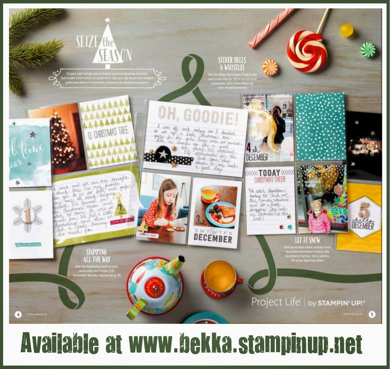 Hello Deccember Project Life by Stampin' Up! Kits available at www.bekka.stampinup.net  Ideal for Journal Your Christmas or December Daily