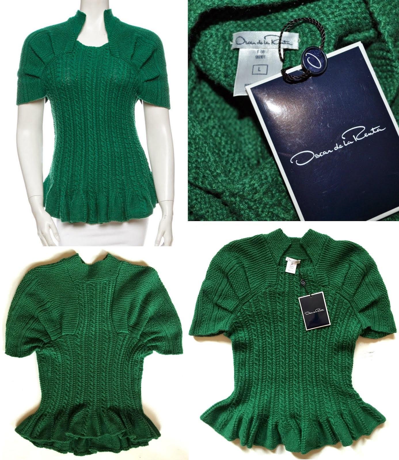 Bluză verde smarald din 100% cașmir, OSCAR DE LA RENTA