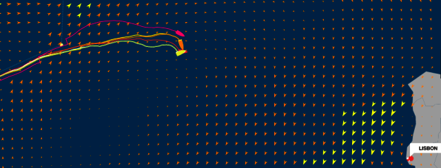 graphic of Volvo Ocean Race, Leg 7 - Newport to Lisbon - Positions at: 24 May 18:43 UTC