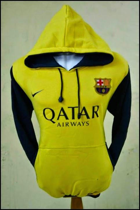 New Jumper Hoodie Bola Kombinasi 2014 - 2015 Barcelona (kuning kombinasi hitam)