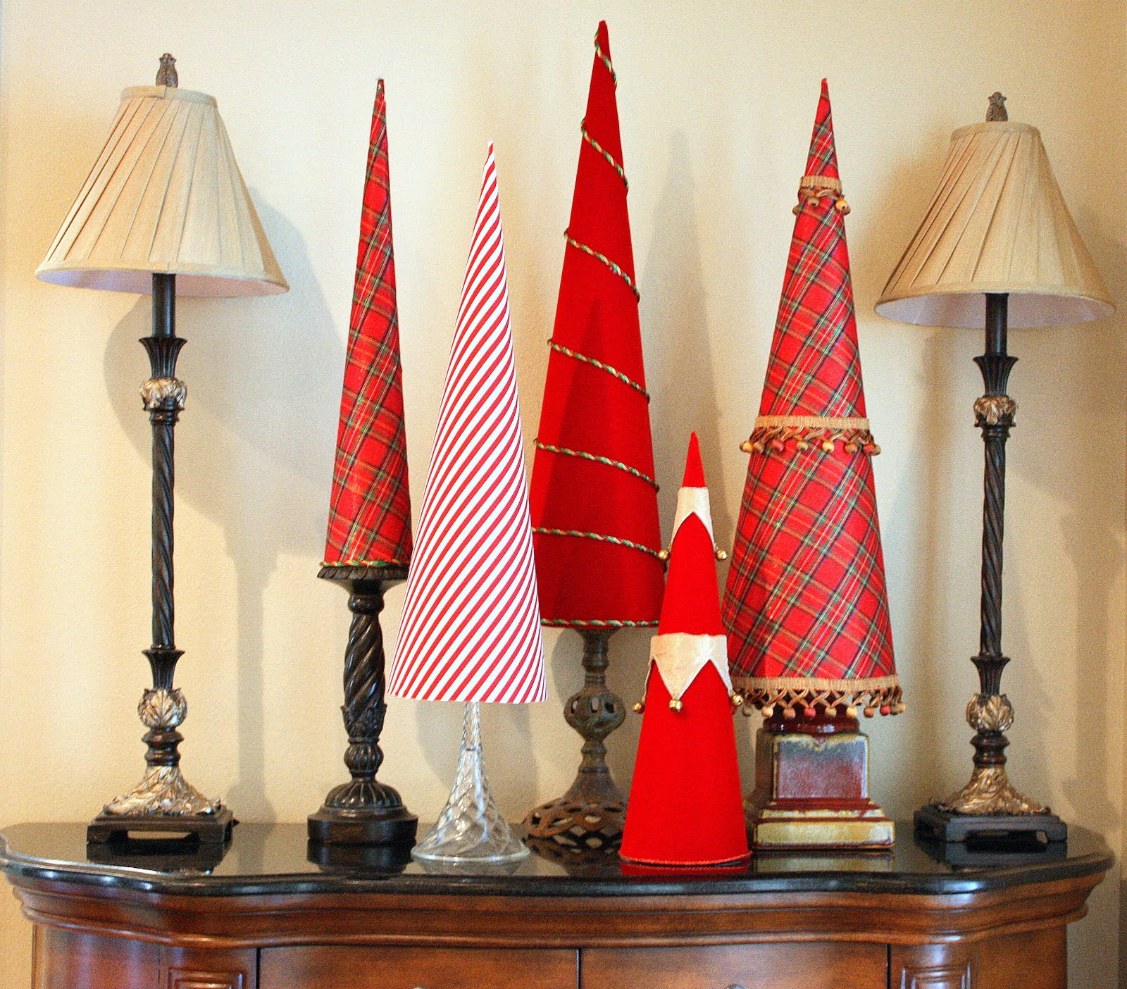 Christmas Decorations Cone Trees : Crafter on a budget cone shaped christmas tree decor