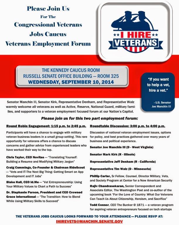 Military civilian hot jobs events and helpful information for invitation congressional veterans jobs caucus veteran employment forum september 10 stopboris Choice Image