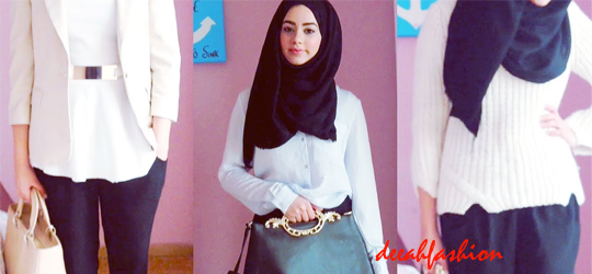 Tips Padu Padan Hijab Black and White