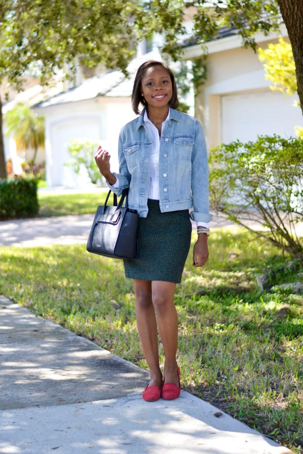 Fall Outfit Ideas | Work Style - Tweed Skirt + Denim Jacket