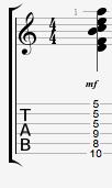 Dminor13 guitar chord