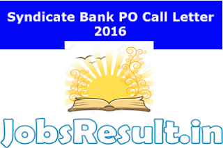 Syndicate Bank PO Call Letter 2016