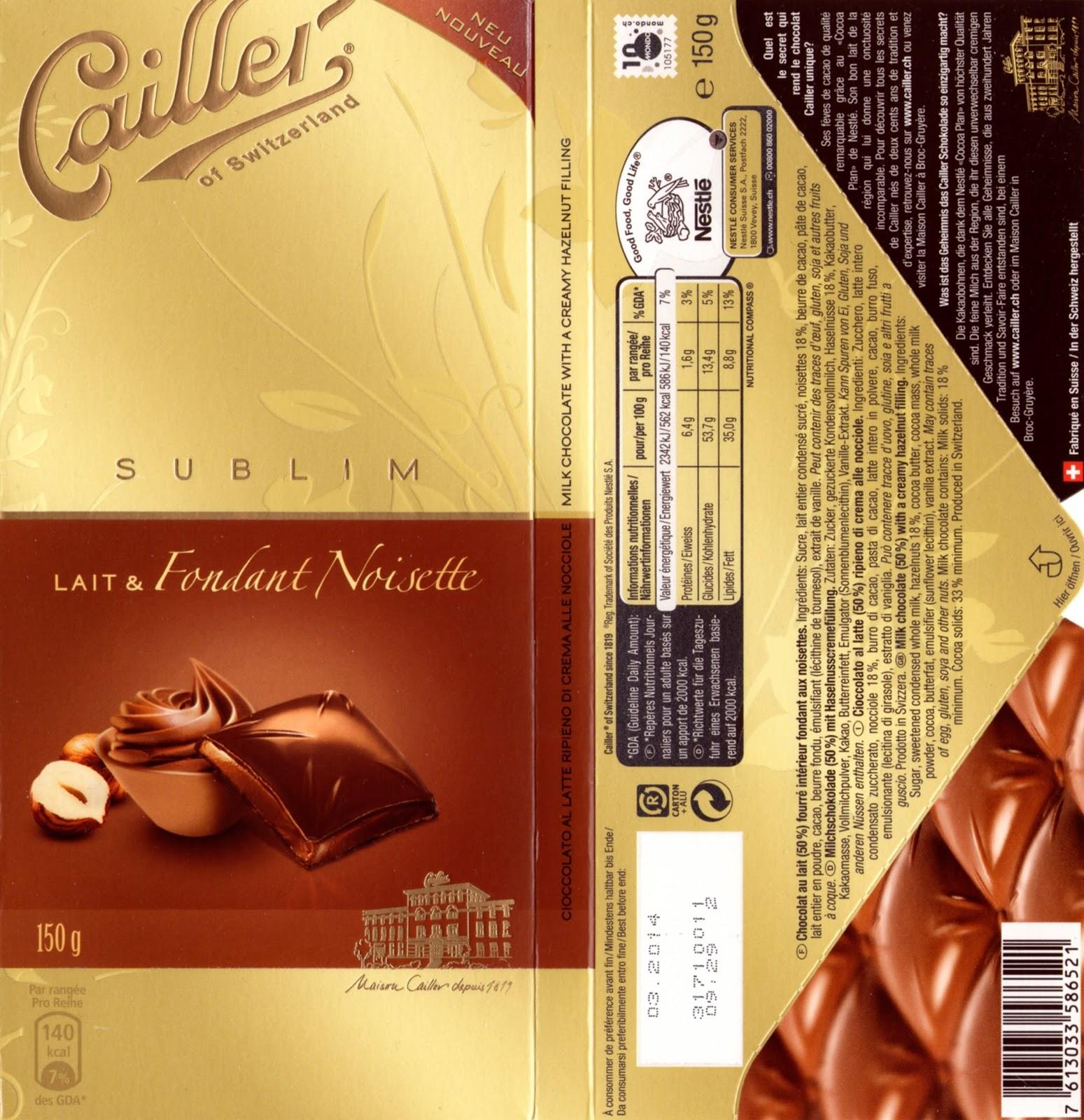 tablette de chocolat lait fourré cailler sublim lait fondant noisette