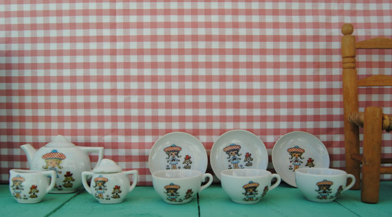 Vintage japanese porcelain tea set - little girl with puppy at space.rocket.store