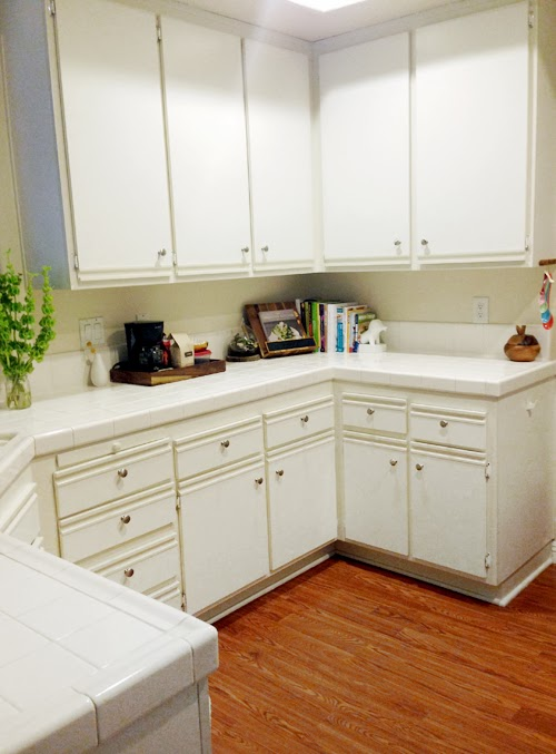 Let 39 s die friends easy kitchen cabinet makeover for Painting white laminate kitchen cabinets