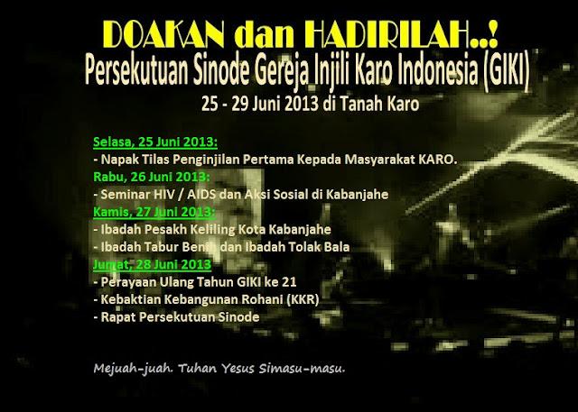 Persekutuan Sinode Gereja Injili Karo Indonesia 2013