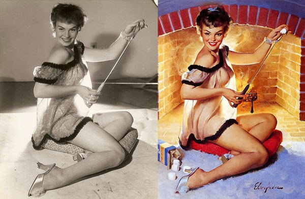 pin up paintings, real women behind pin up paintings